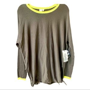 Cloth Olive green & Yellow Long Sleeve Top